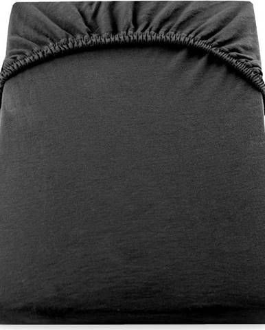 Černé elastické džersejové prostěradlo DecoKing Amber Collection, 160/180 x 200 cm