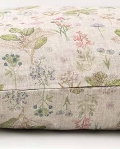 Dětský béžový lněný povlak na polštář Linen Tales Botany,40x60cm