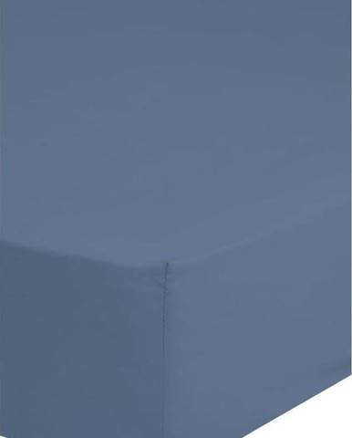 Modré elastické prostěradlo z bavlněného saténu HIP,160x200cm