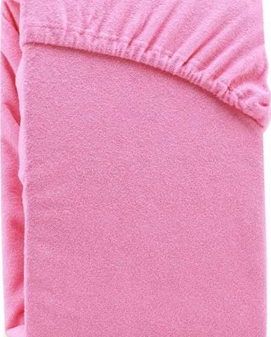 Růžové elastické prostěradlo na dvoulůžko AmeliaHome Ruby Siesta, 180/200 x 200 cm