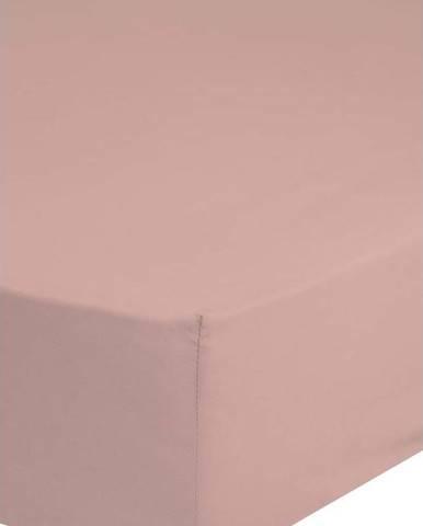 Růžové elastické prostěradlo z bavlněného saténu HIP,90x200cm