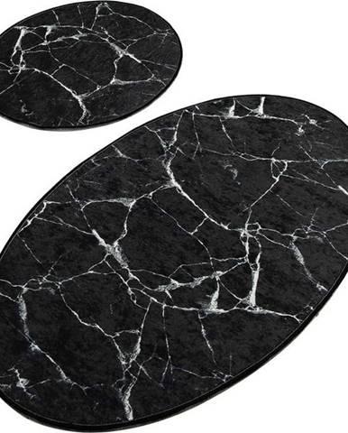 Sada 2 černých oválných koupelnových předložek Chilai Marble