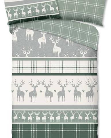 Zeleno-šedé flanelové povlečení s vánočním motivem Good Morning Bjirk,140x200cm