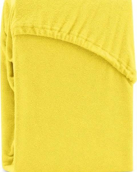 AmeliaHome Žluté elastické prostěradlo na dvoulůžko AmeliaHome Ruby Siesta, 200/220 x 200 cm