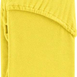 Žluté elastické prostěradlo na dvoulůžko AmeliaHome Ruby Siesta, 200/220 x 200 cm