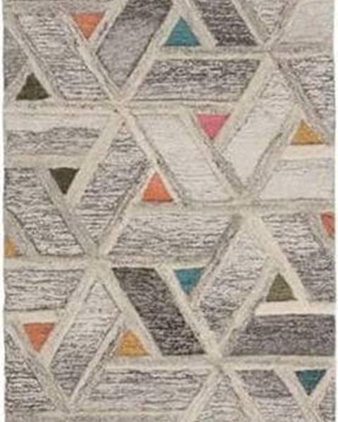 Flair Rugs Šedý vlněný běhoun Flair Rugs River, 60 x 230 cm