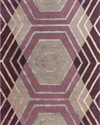 Fialový vlněný koberec Flair Rugs Harlow, 160 x 230 cm