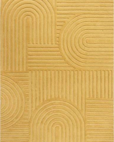 Žlutý vlněný koberec Flair Rugs Zen Garden, 120 x 170 cm