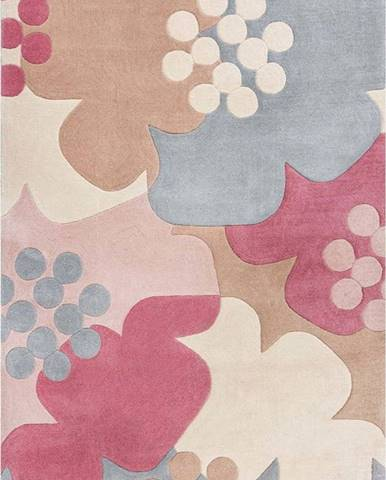 Šedo-růžový koberec Flair Rugs Retro Floral, 160 x 230 cm