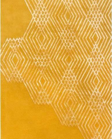 Žlutý vlněný koberec Flair Rugs Diamonds, 160 x 230 cm