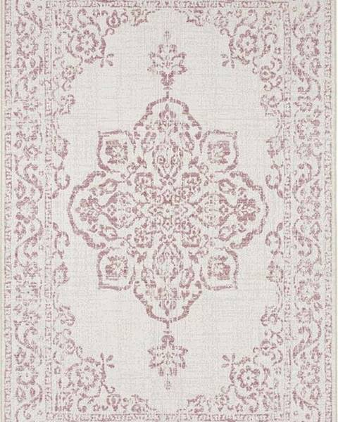 Bougari Červeno-krémový venkovní koberec Bougari Tilos, 80 x 150 cm
