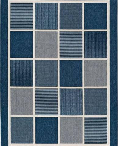 Modrý venkovní koberec Universal Nicol Squares, 160 x 230 cm