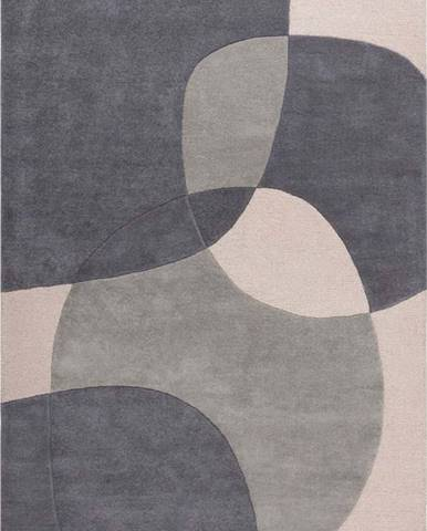 Šedý vlněný koberec Flair Rugs Glow, 120 x 170 cm