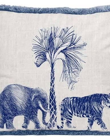 Bílo-modrý polštář Surdic Fleco Safari, 35 x 50 cm