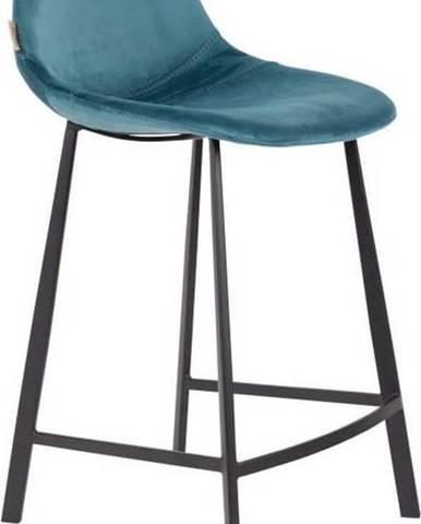Sada 2 petrolejově modrých barových židlí se sametovým potahem Dutchbone, výška 91 cm