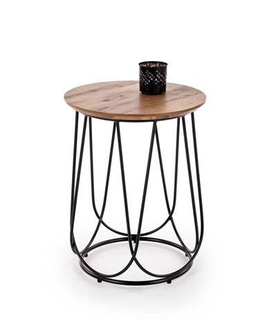 Kulatý odkládací stolek NUBIRA-S, ořech/černá