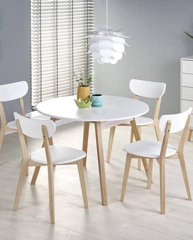 Rozkládací jídelní stůl RUBEN, bílá/dub medový