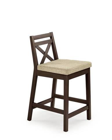 Barová židle nízká BORYS, tmavý ořech ZRUŠENO