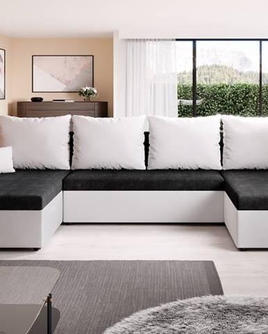 Rohová sedačka DENIS U, černá/bílá