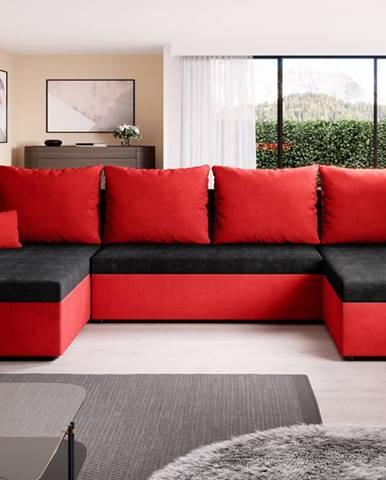 Rohová sedačka DENIS U, černá/červená