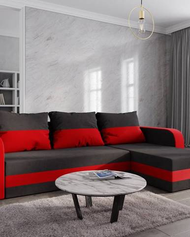 Rohová sedačka HEWLET BIS, černá látka/červená látka