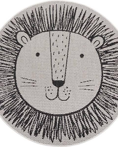 Ragami Černý dětský koberec Ragami Lion, ø 120 cm