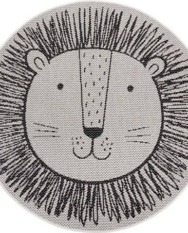 Černý dětský koberec Ragami Lion, ø 160 cm