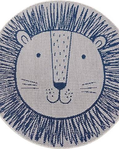 Modrý dětský koberec Ragami Lion, ø 120 cm