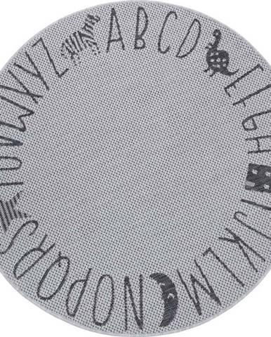 Šedý dětský koberec Ragami Letters, ø 160 cm