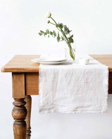 Bílý lněný běhoun na stůl Linen Tales Classic,40x 150cm