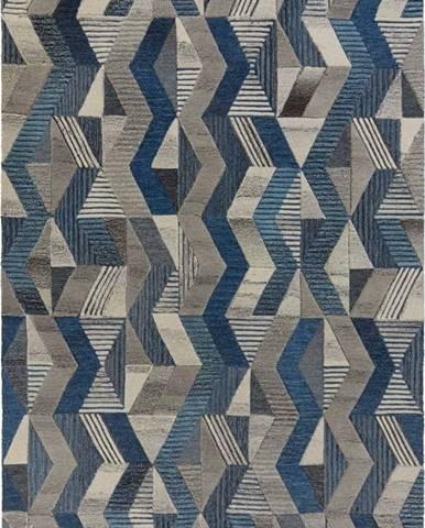 Modrý vlněný koberec Flair Rugs Asher, 160 x 230 cm