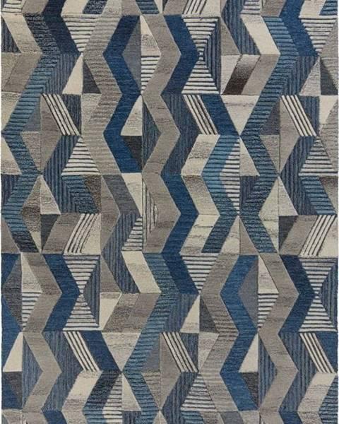 Flair Rugs Modrý vlněný koberec Flair Rugs Asher, 200 x 290 cm