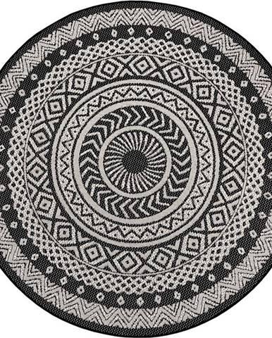 Černo-šedý venkovní koberec Ragami Round, ø 160 cm