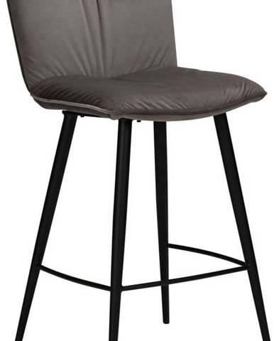 Šedá sametová barová židle DAN-FORM Denmark Join, výška 93 cm