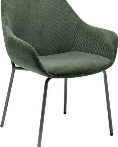 Set 2 zelených sametových židlí s područkami Kare Design Avignon
