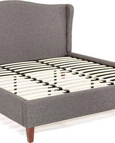 Antracitově šedá dvoulůžková postel Chez Ro Hobro,180x200cm