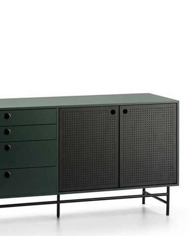 Černo-zelená komoda Teulat Punto, šířka 150 cm