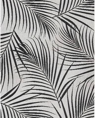 Černo-šedý venkovní koberec Ragami Flora, 120 x 170 cm