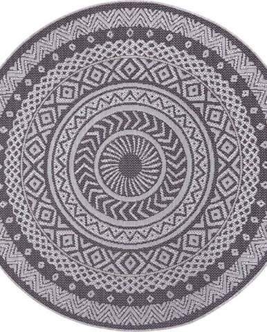 Šedý venkovní koberec Ragami Round, ø 120 cm