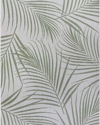 Zeleno-šedý venkovní koberec Ragami Flora, 120 x 170 cm