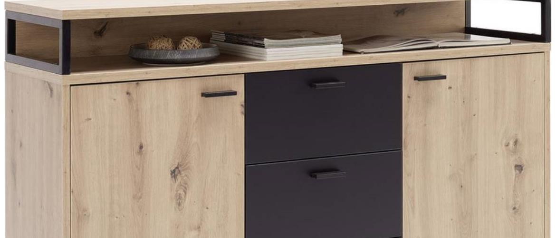 Xora KOMODA, černá, barvy dubu, 134,1/87,8/38 cm - černá, barvy dubu